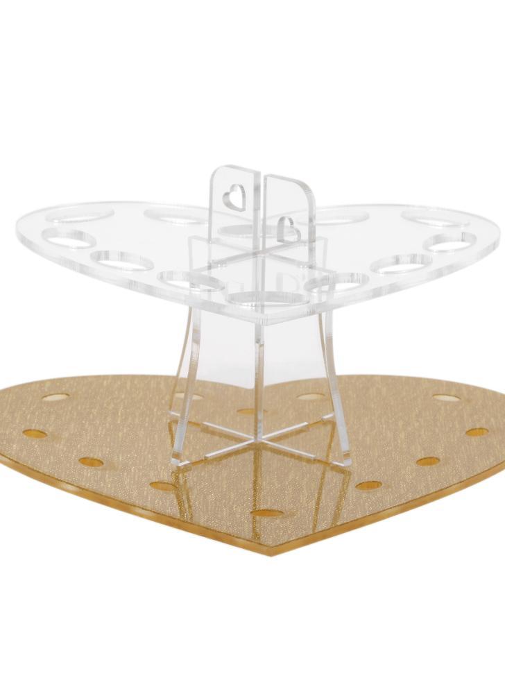 Maquiagem Oval suporte de escova Suporte Escova de dentes Escova de suspensão Secagem Organizador acrílico 12 buracos da forma do coração