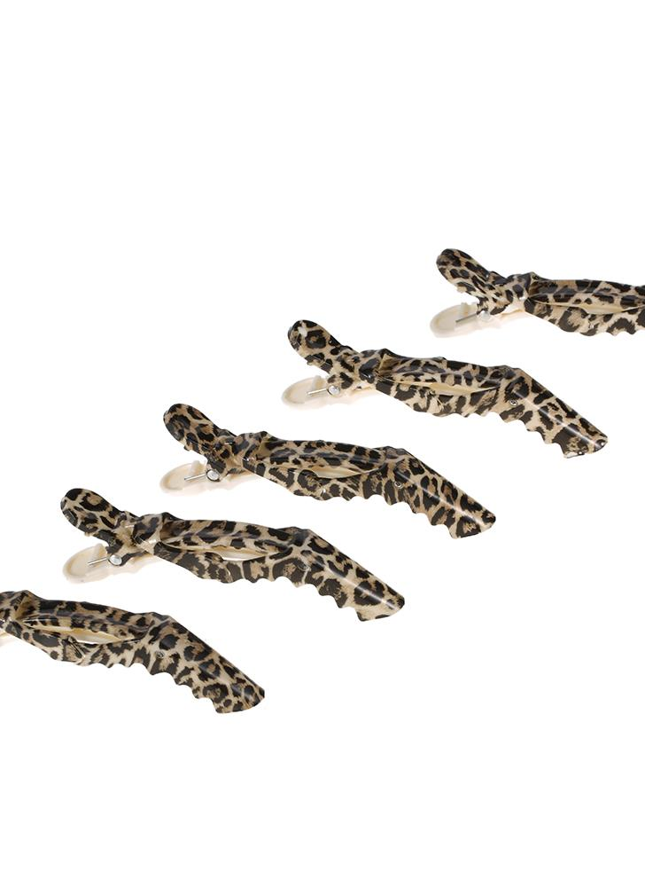 Clips Anself 5Pcs Crocodile cheveux Grip Sectionnement Clips Croc Cheveux Pinces Hairdressing Salon Pinces Leopard plastique styler outil