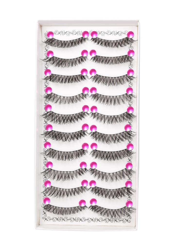 10 Pairs Pestañas falsas Natral Emulational Extention Pestañas falsas Crisscross y recto Grueso Black Eyelashes Maquillaje Etapa Rendimiento