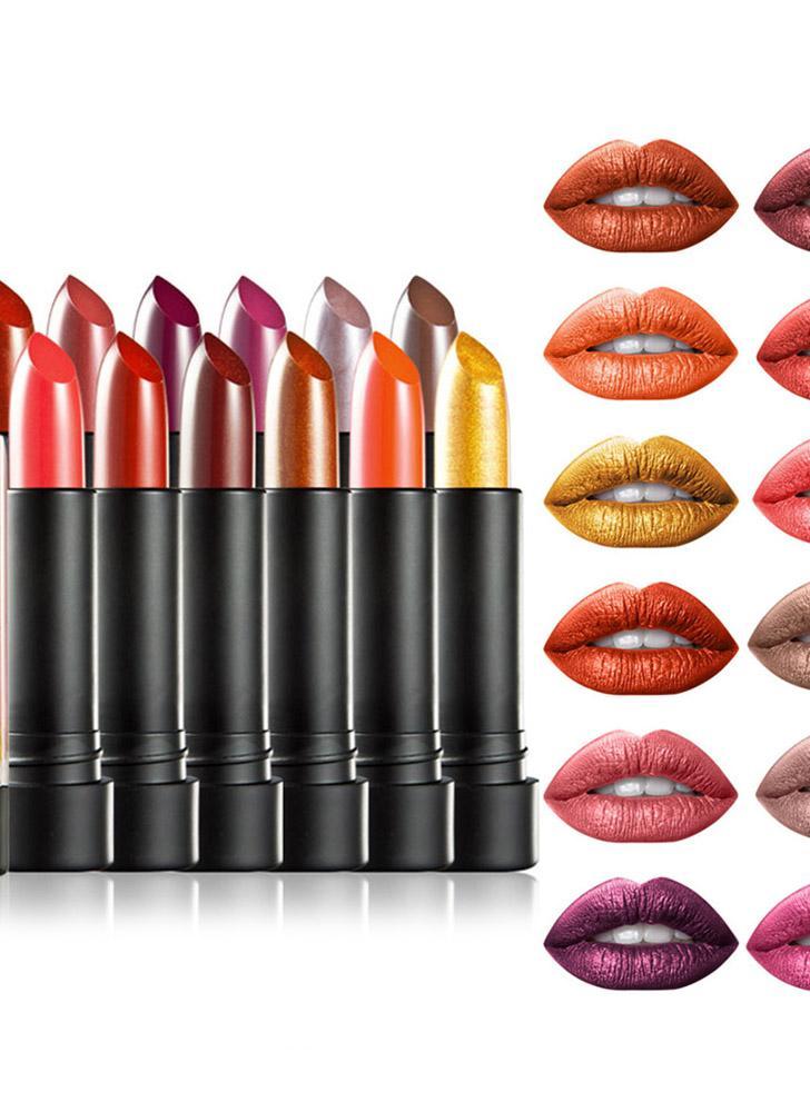 HUAMIANLI 12pcs Lipsticks Set Metallic Metal Glitter Shimmer Cream Impermeável Matte Longo Durável