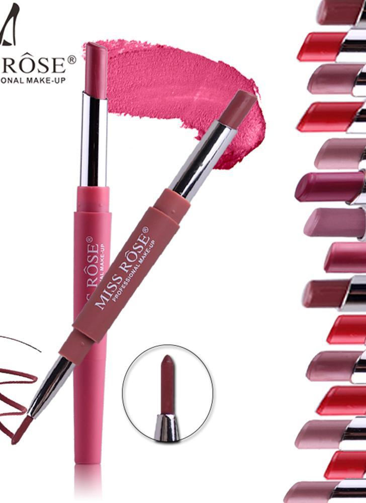SENHORA ROSA 2 em 1 Lip Liner Caneta À Prova D 'Água Colorido De Seda Suave Batom Caneta Lápis Estiramento Lip Brush Tool Maquiagem Lábio