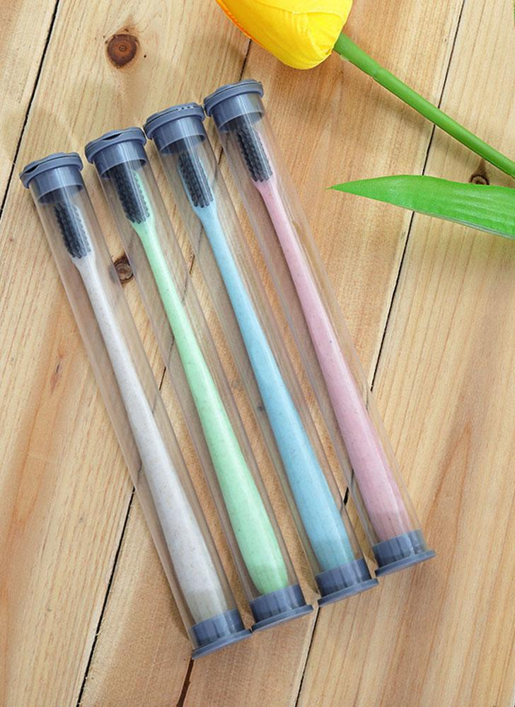 Paille de blé en bambou doux charbon de bois brosse à dents brosse à dents noire avec boîte de rangement soins buccaux pour les enfants et les adultes de couleur aléatoire