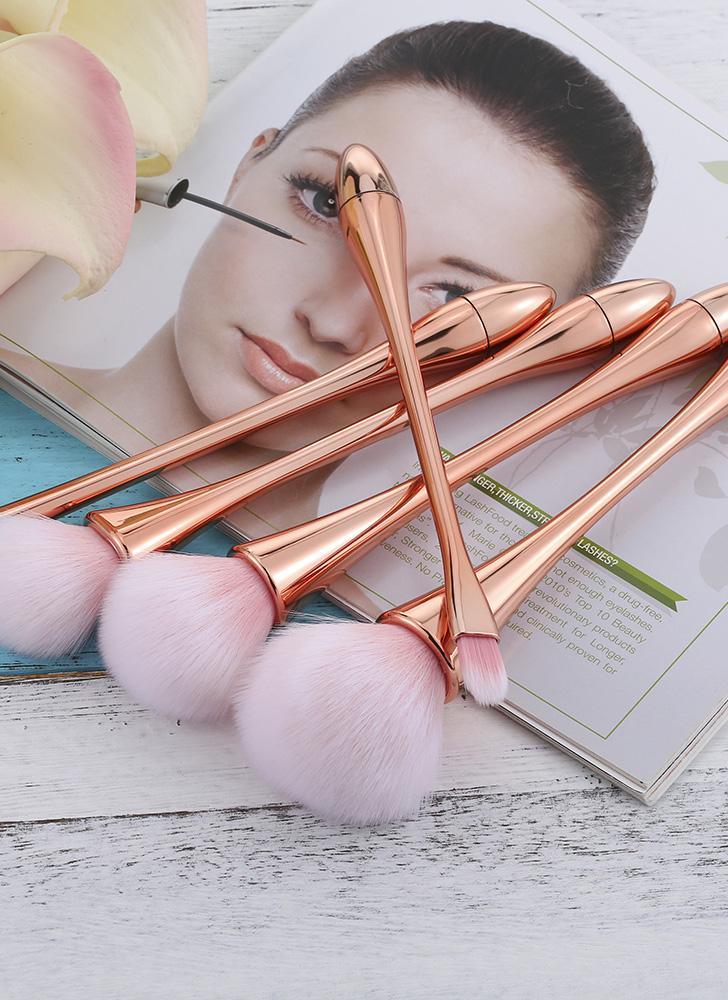 5Pcs pinceau de maquillage professionnel brosse cosmétiques Set Kit Concealer Foundation Fard à Paupières Poudre Blush Brush fibre outil de beauté en or rose Poignée douce couleur