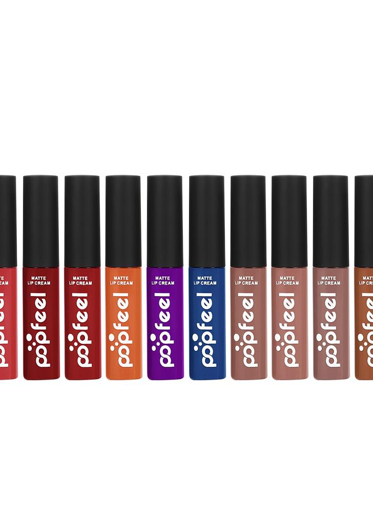 Popfeel 12Pcs / Set Liquid Matte Waterproof Long-lasting Lip Sticks Stain Tint