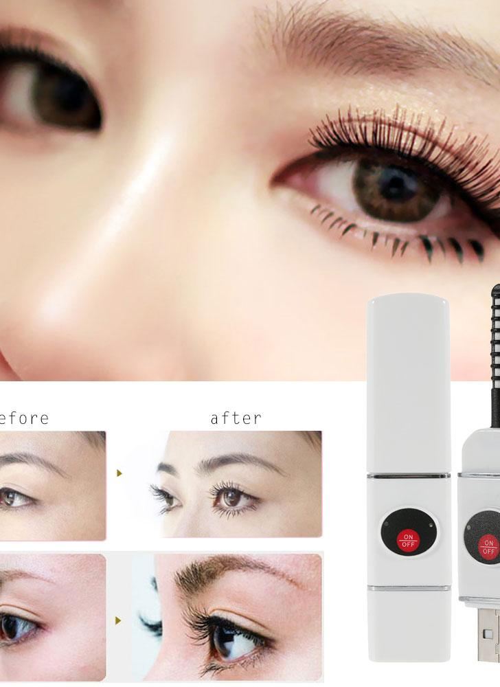 Electric Heated Eyelash Curler Rechargeable U Disk Shaped USB Connector Charge Mini Portable Size Beauty Makeup Tools