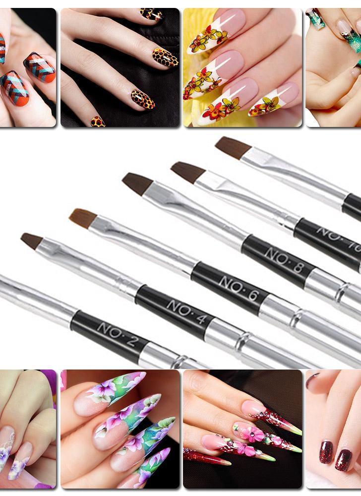 6pcs destacável Pincel Nail Plano Pen Gel UV Brushes DIY Pintura Nail Art Pen Manicure Ferramenta de Desenho Salon Pen Projeto de prata