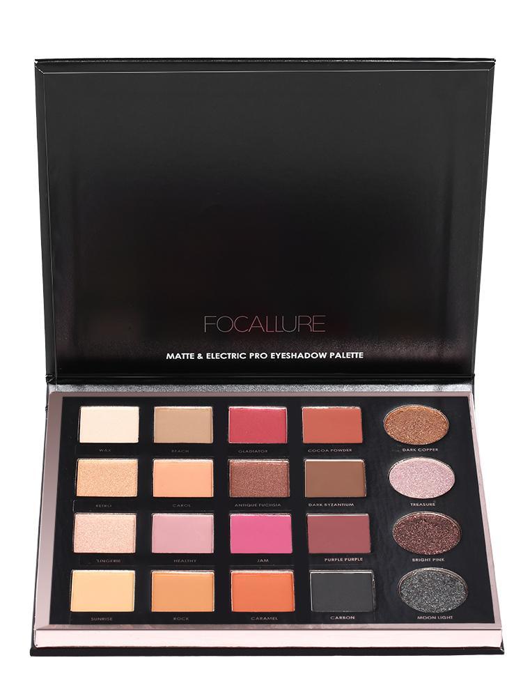 FOCALLURE Paleta de sombra de olhos de 20 cores Shiny Pearl Shadow Matte Eye Shadow Set Powder Makeup Cosmetics