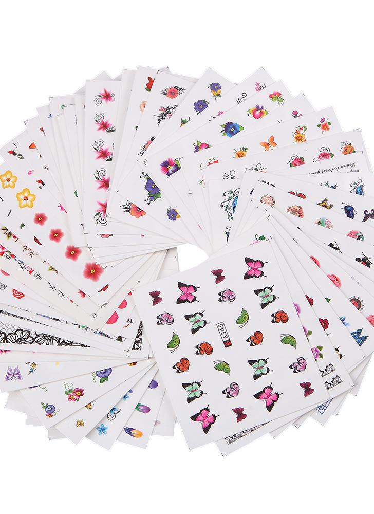 multicolor 50 Hojas Conjunto de Pegatinas de Uñas Patrón de Flor de ...