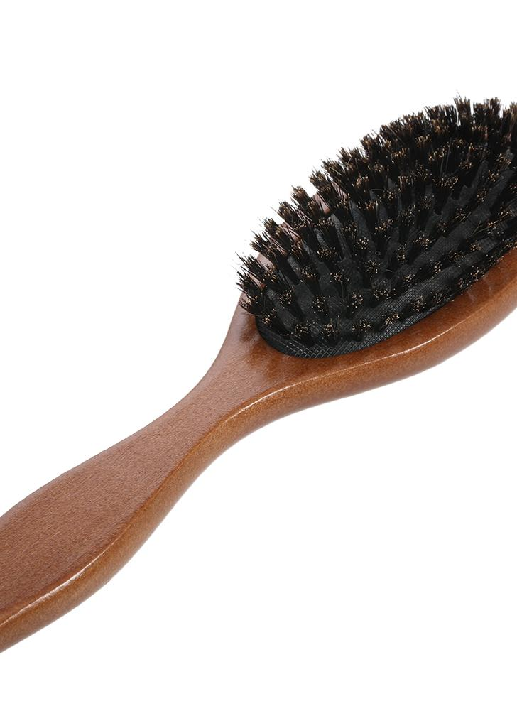 Natural Bristle Oval Anti-static Paddle Wooden Handle Hair Comb