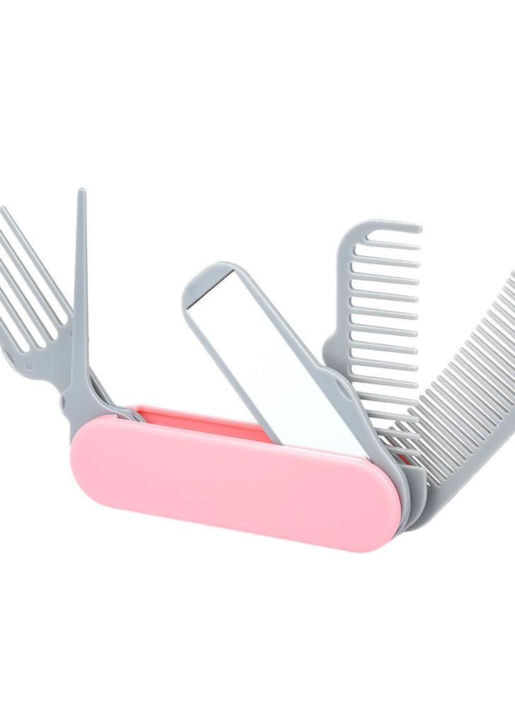 Cepillo plegable del peine del pelo plegable 1pc Plástico del espejo cinco en uno
