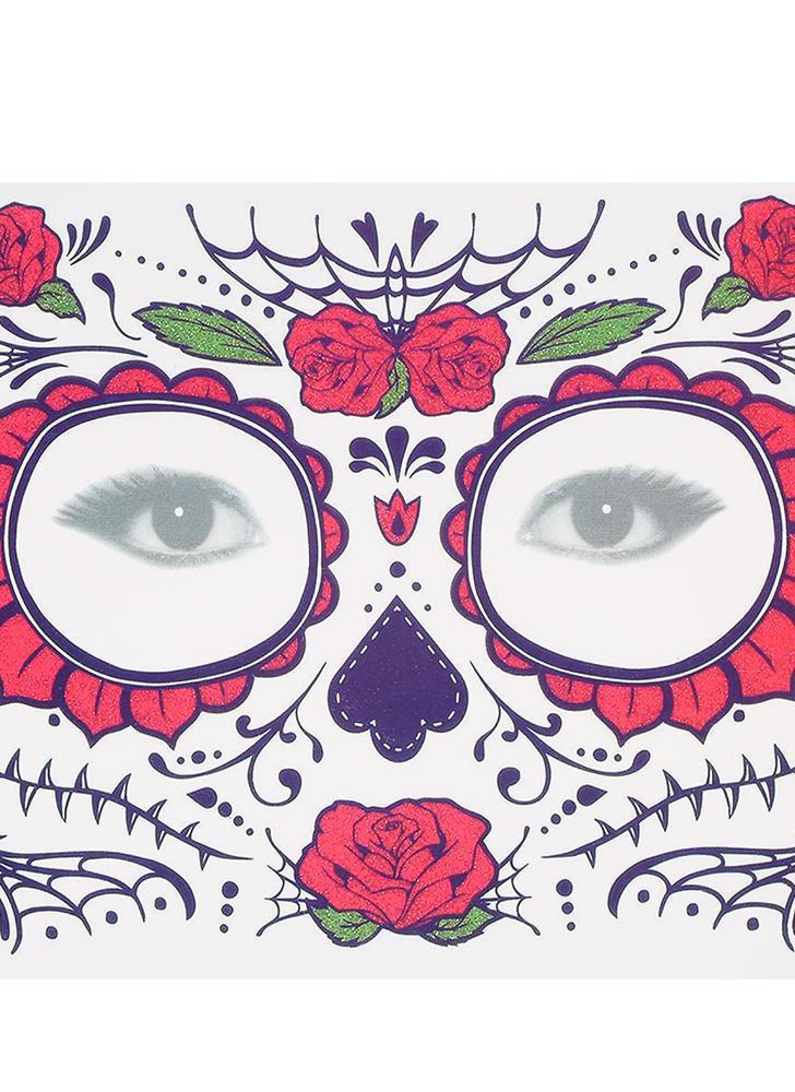 Tatuaggio temporaneo adesivo cicatrici terrore Halloween fiori modello occhi faccia adesivi trucco palcoscenico