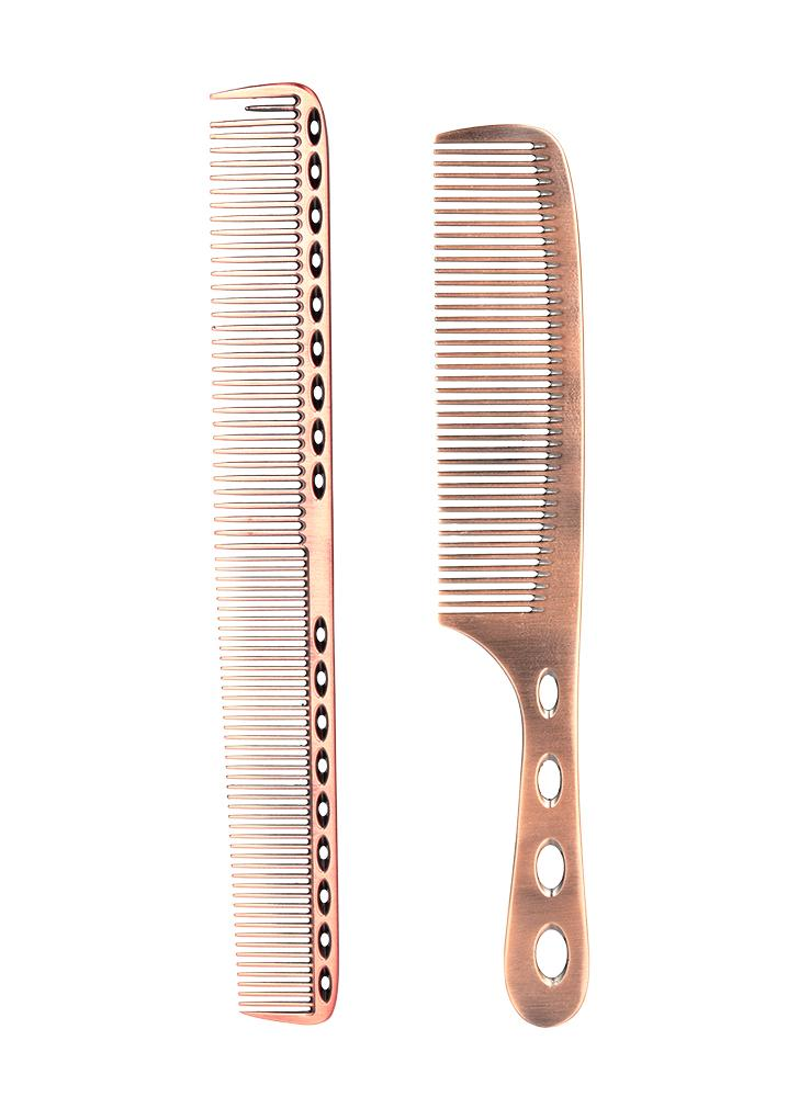 2Pcs Salon Hair Comb with Scale Professional Barber Hairdressing Steel Comb Metal Hair Cutting Comb