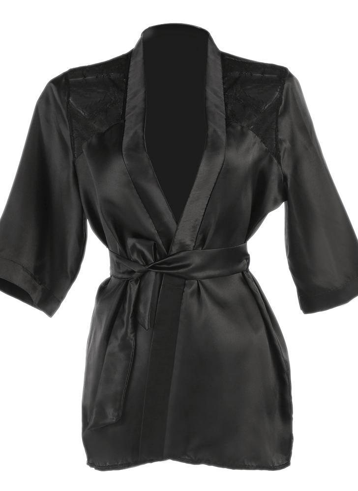 Moobody Frauen Bademantel Nachtwäsche Bademantel Robe Sexy Satin  Nachtwäsche-Kleid-Kleid-Spitze- 030ce538cd