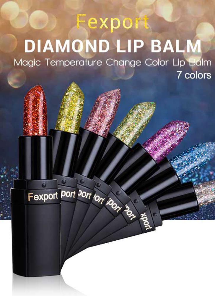 F6106 Fexport Shiny Blue Transparent Diamond Lip Balm Crystal Magic Temperature Color Change Lipsticks