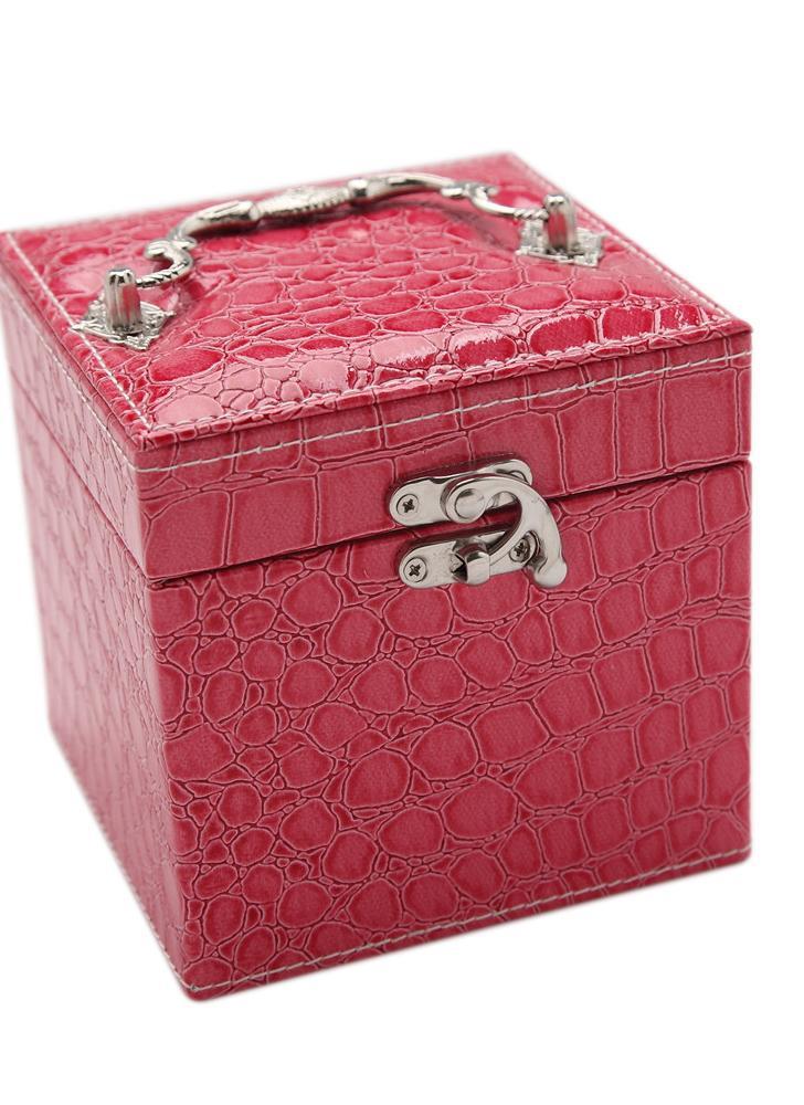Moda portátil de mano del alto grado de la PU de cuero joyero 3 capas de almacenamiento de titular Plaza Cubo del reloj del caso collar del anillo del pendiente Accesorios Pantalla Con Maquillaje regalo del espejo