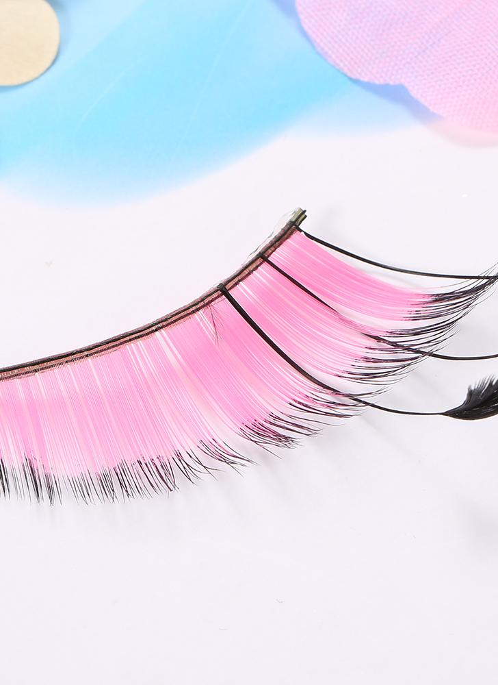 Moda feminina Sexy Pena Colorida Falso Longo Cruz Cílios Partido Maquiagem Natural Falso Preto Grosso Rainbow Eye Lashes