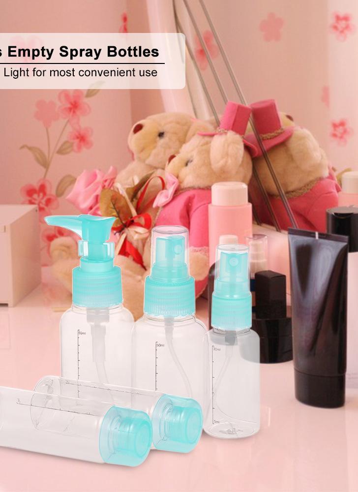 5Pcs Empty Spray Bottles Portable Travel Makeup Cream Bottles  Cosmetics Bottles Refillable Plastic Makeup Bottles