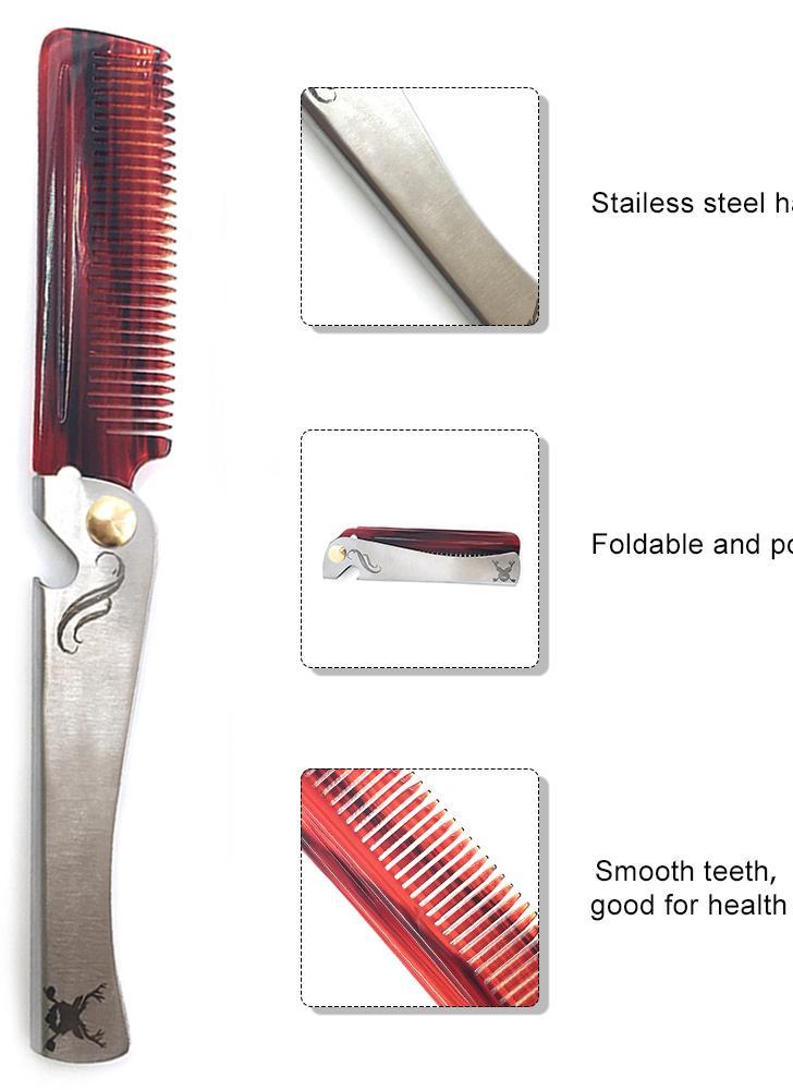 Нержавеющая сталь Складная расческа Расческа для расчесывания бобов Расческа для здоровья Расческа для волос и борода