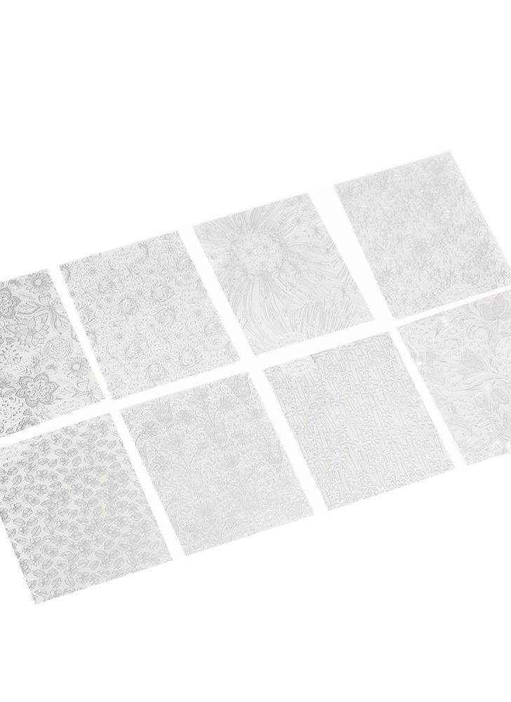 8 hojas / paquete de oro del clavo 3D etiquetas engomadas del arte Adhesivos de parche metálico Flores Designs For herramienta accesoria Salón de clavos del arte inclina la decoración