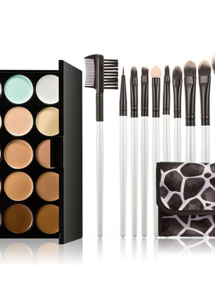 15 cor creme corretivo paleta olho Face cosméticos tons terra com maquiagem escova lábio caso Eyeshadow Brush pincel de maquiagem conjunto