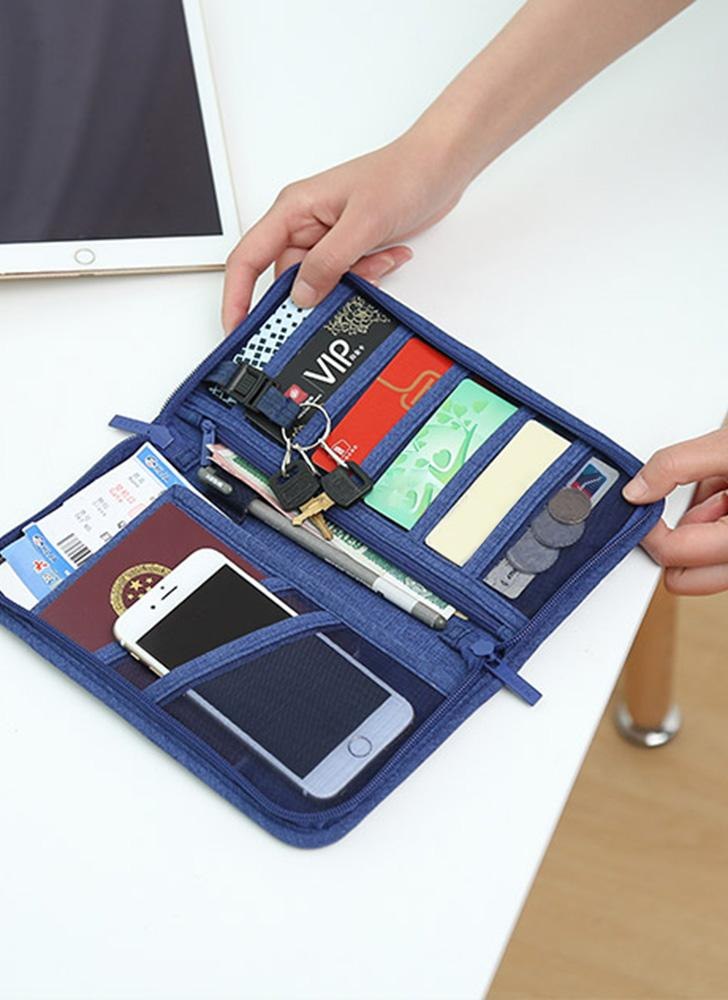 Navy Blue Travel Wallet Family Passport Credit Card