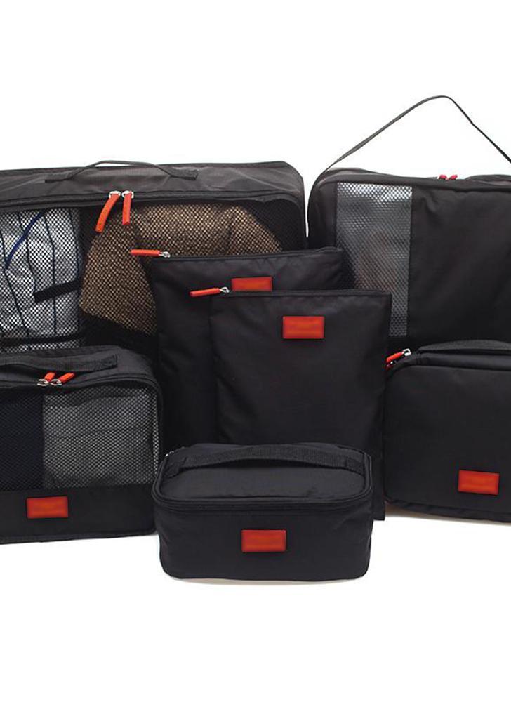 7 PCS / Set Multi-fonction Voyage Sac De Rangement Étanche Vêtements Tri Sacs Portable Bagagerie Partition Organisateurs Poche Mesh Numérique Élément Dispositif D'emballage Cubes (noir)
