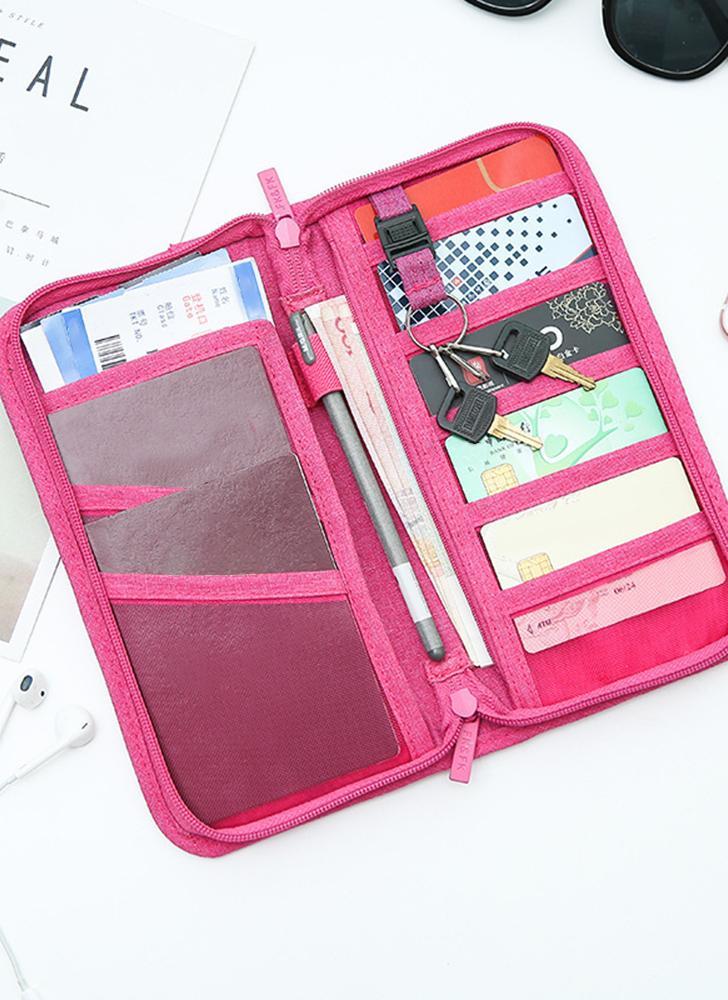 Carteira de viagem Passaporte familiar Organizador de cartão de crédito Caixa Zipper Passports Holder Tickets Boarding Passes Cash Bag for Men & Women Grey