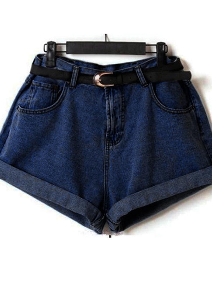 Старинные женщин шорты джинсы негабаритных высокой талией Роллинг вверх манжеты короткие брюки синий