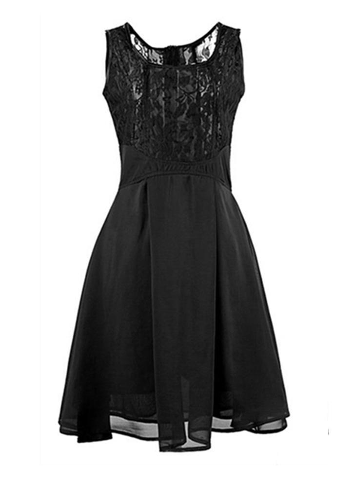 Mode sexy femmes en mousseline de soie robe dentelle haut réservoir sans manches robe patineuse Dress Black