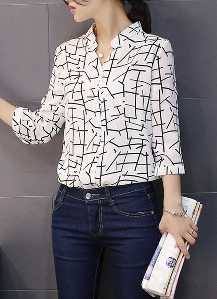 blanco Moda mujeres blusa de Gasa patrón de contraste botones ...