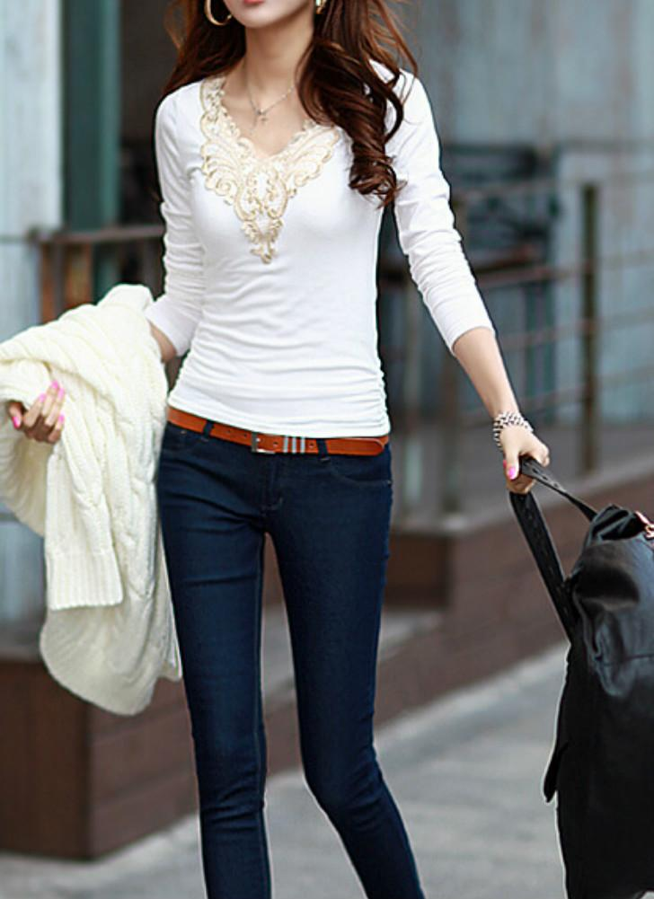 Casual Lace Applique Long Sleeve Slim Basic T-Shirt