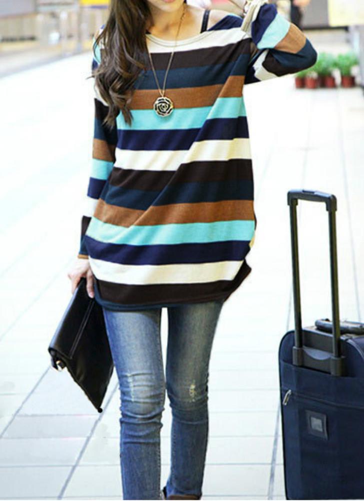 Delle Coreano Scuro Stripes Donne Blu Shirt Slouchy L Modo T SqUpIx7Fw