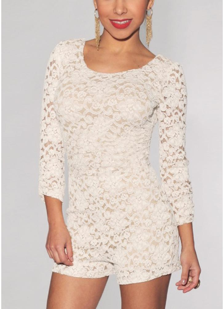 Sexy Floral Lace Knitted Backless Scoop Neck 3/4 Sleeve Rompers