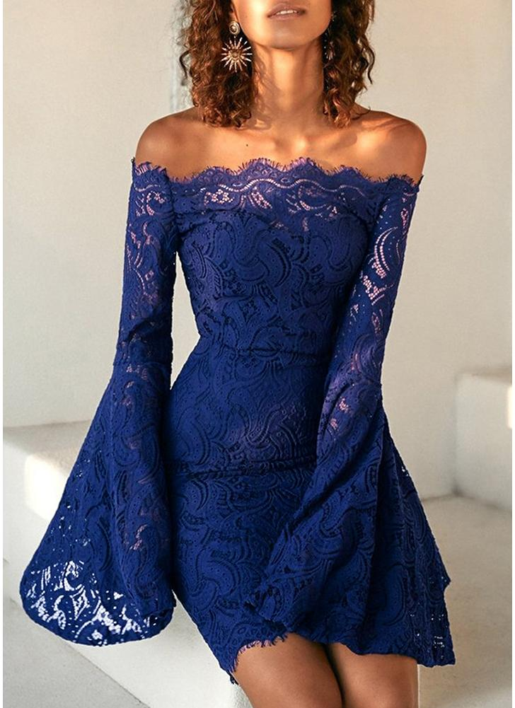Lace Off the Shoulder Flare Long Dress Summer Sleeves Bodycon Mini Dress