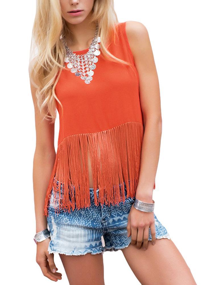 Sexy Frauen T-Shirt Quaste Patchwork O-Neck V zurück Schlüsselloch Schaltfläche asymmetrische Saum Tank Top Orange