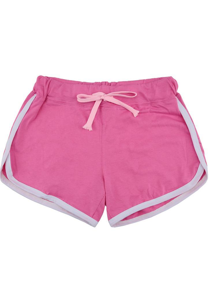 Мода женщин спортивные шорты контраст привязки сторона Сплит упругие талии йога шорты