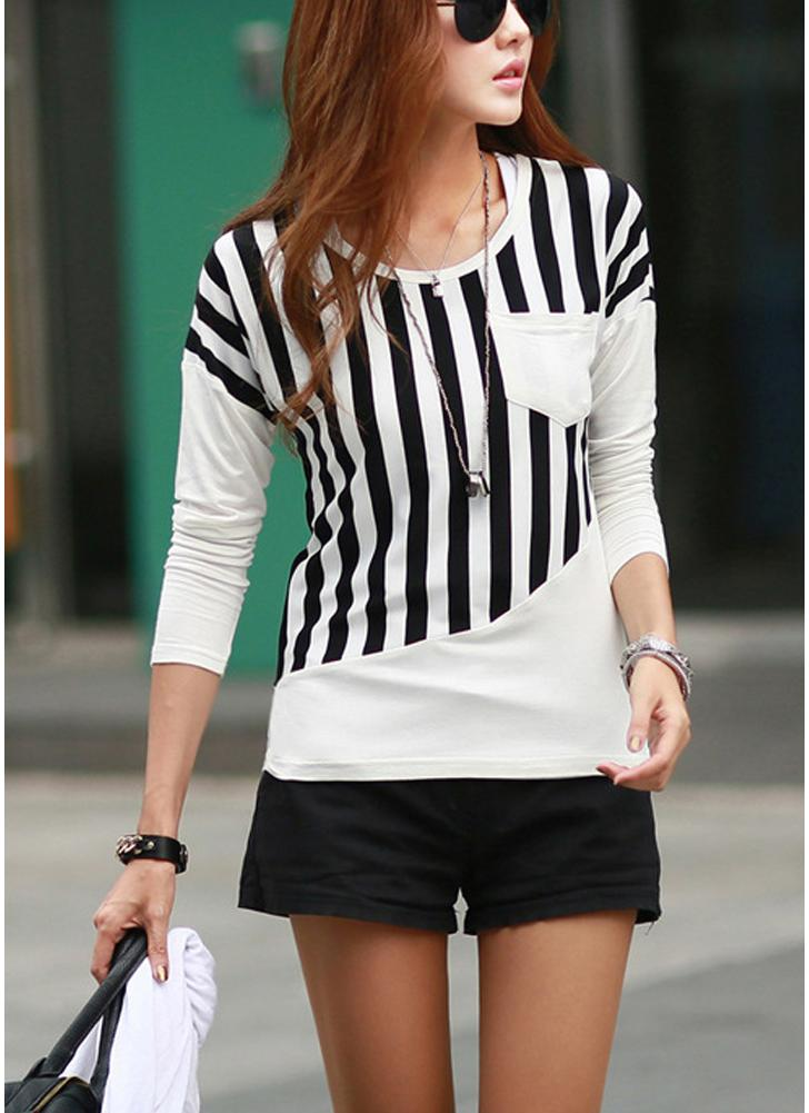 Casual Stripe Patchwork Chest Pocket Round Neck Long Sleeve T-Shirt