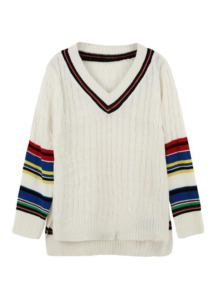 Nuove donne maglia maglione Stripe lato fessure V collo alto-basso orlo  caldo Pullover Jumper 4c52f438e1a