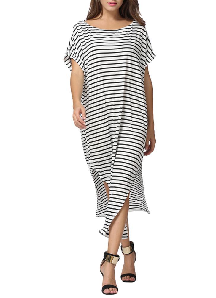 Rayé Batwing épaules Taille de Split Asymétrique Femme Plus lâche Maxi Dress
