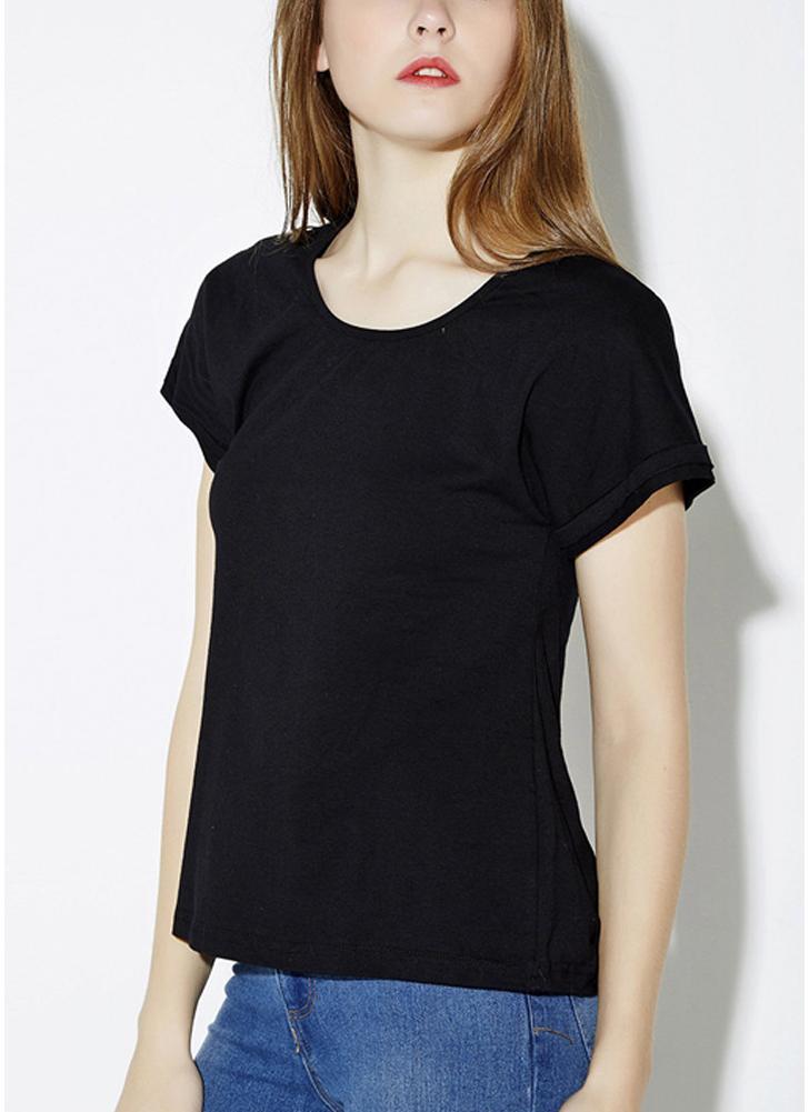 Neue Sommermode Damen T-Shirt runder Hals Kurzarm Hollow wieder solide Tops-Schwarzes