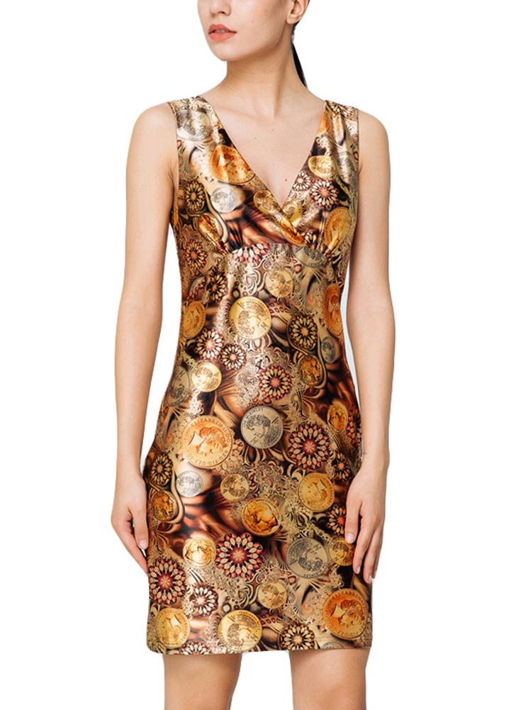 Elegant Vintage Print V-Neck sans manches Bodycon Mini-robe