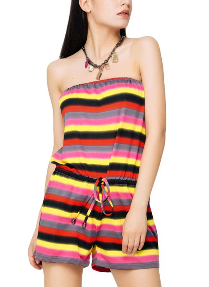 Casual Slash Neck Contrast Stripe Print Drawstring Waist Beach Romper