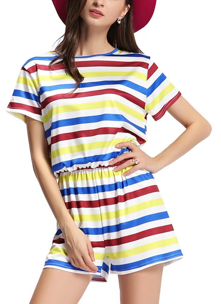 Neue Frauen-Overall Kontrast Striped-Rundhalsausschnitt mit kurzen Ärmeln elastischer Taillen-Rückseite Reißverschluss Playsuit Romper Weiß