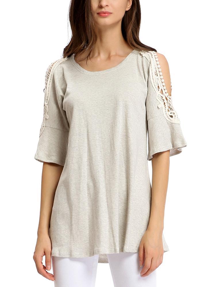 l gris Cortar el cordón adornado medio mangas camiseta - Chicuu