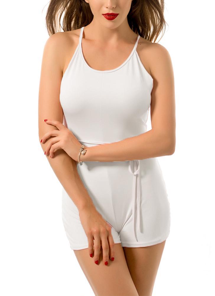 Сексуальная Женщины Короткие Bodycon Комбинезон Холтер ремень Узелок Backless Твердые Повседневный костюм для подвижных игр Beach Club Rompers белый / розовый