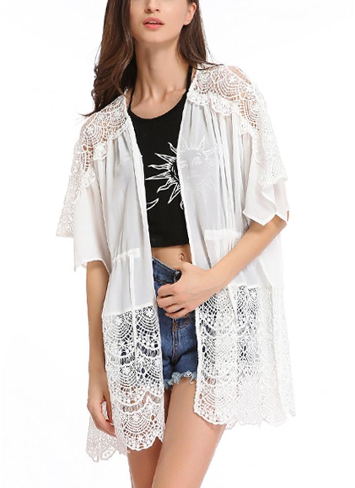 Lace Detailed Chiffon Cover Up Kimono