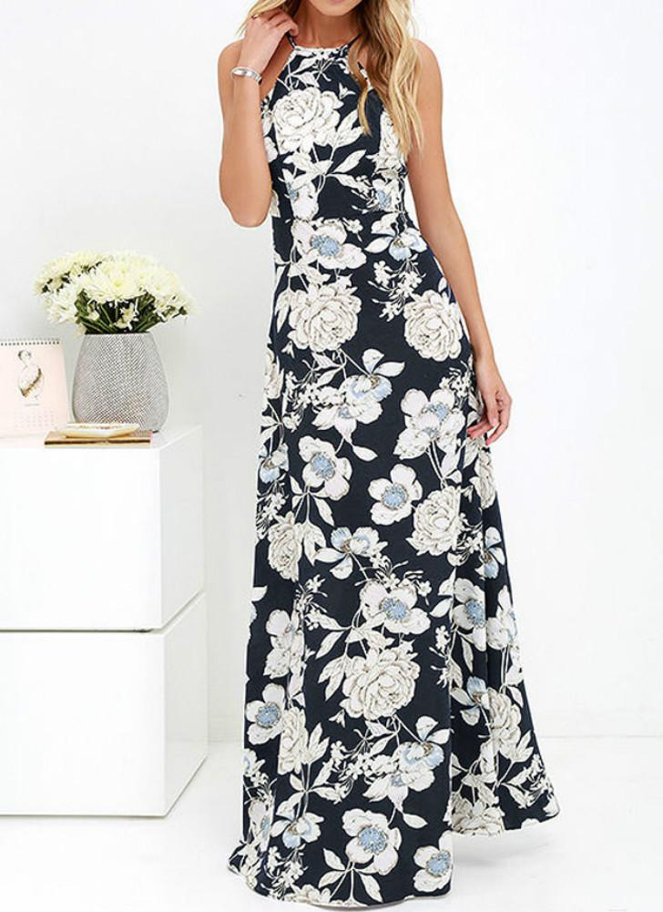 Summer Halter Neck Floral Print Sleeveless Women's Maxi Dress