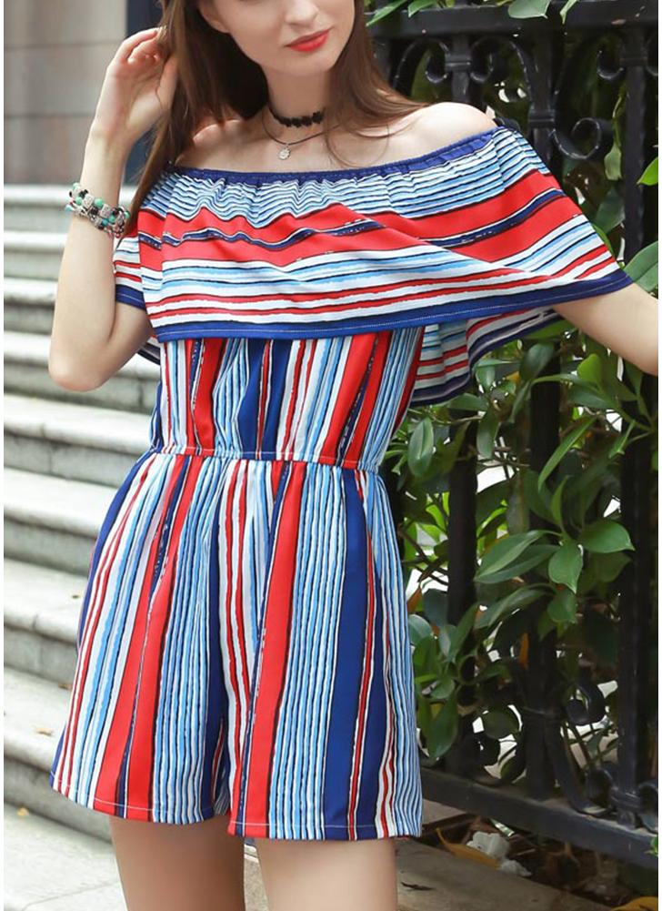New Contraste Stripe Sexy Mulheres Jumpsuit Ruffle Off Shoulder bolso Curto Playsuit macacãozinho Macacões