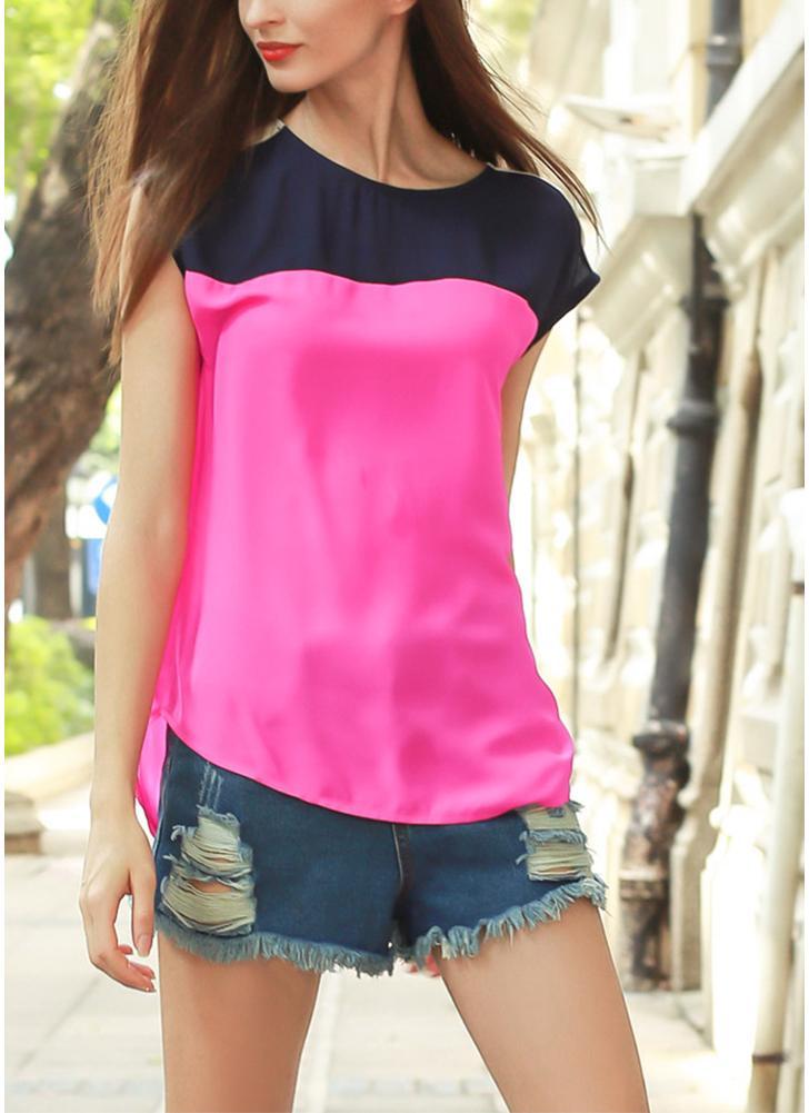 Nouveau Mode féminine en mousseline de soie Blouse Multicolor Bloc Bouton ourlet asymétrique O Neck Casual vrac Blouse Top Rose