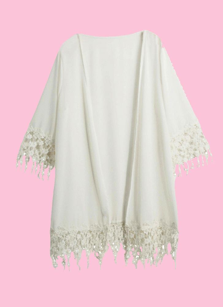 Beach Moda Donna Cover Up chiffon Crochet nappa anteriore aperto Kimono Beachwear costume da bagno bikini White Cover